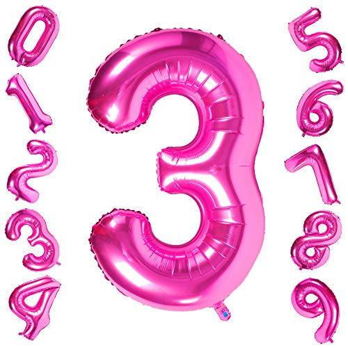 40 Inch Giant Pink Number 3 Balloon,Foil Helium
