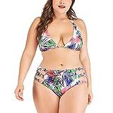 CHIDY Womens Two Piece Swimsuit Plus Size Boho Printed Halter Tankini Swimwear Bikini High Waisted Bathing Suits Green