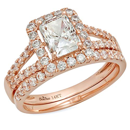 1.60ct Emerald Round Cut Pave Halo Split Shank Solitaire Accent Highest Quality Moissanite & Simulated Diamond Engagement Promise Statement Anniversary Bridal Wedding Ring band set 14k Rose Gold Sz ()