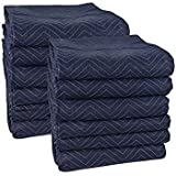 24 Premium Moving Blankets - Pro Quality - Long Durable Lasting - 72'' X 80'' inches - Weight 86 lbs. – Blue/Dark Blue