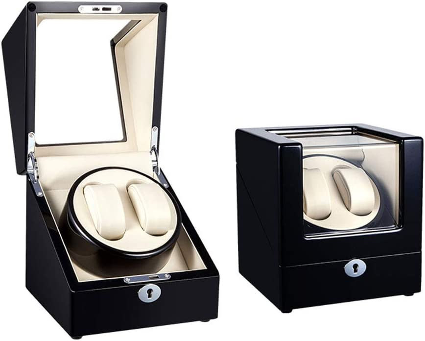 ワインディングマシーン 2本巻き, 自動巻き 静音設計, 2 Way式充電, 2 腕時計収納ボックス (Color : B)