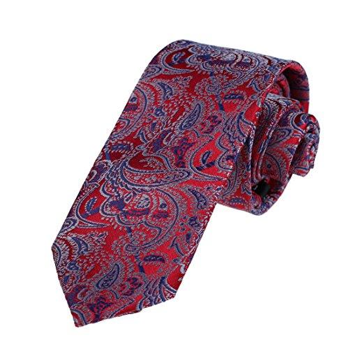 (Dan Smith DAE7B05D Red Blue Designer Slim Neckties Microfiber Skinny Tie Patterned Discount Presents)