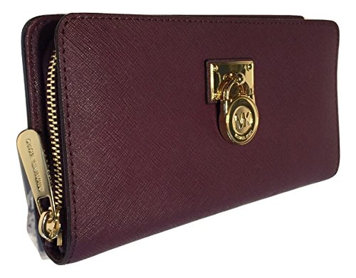 Michael Kors Hamilton Traveler LG Zip Around Wallet (Plum) by Michael Kors