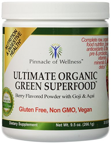 Pinnacle of Wellness Ultimate Organic Green Superfood Powder - Berry Flavor - 30 Servings 9.5oz (266.1g) (Pinnacle Grass Green)