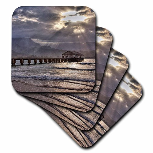 3dRose cst_250799_1 Hawaii, Kauai Hanalei Pier At Sunset Soft Coasters (Set of 4) by 3dRose