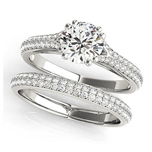 14K White Gold Unique Wedding Diamond Bridal Set Style MT50969