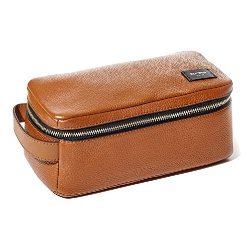 Jack Spade Pebble Leather Travel Kit Toiletry Bag - Tan by Jack Spade