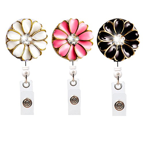 Qinsuee Bling Rhinestones Retractable Badge Holder, ID/Name Badge Reel Alligator Clip with Camellia, Easy to wear, 3 Pack (Multiple)