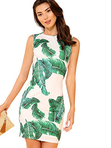 (Floerns Women's Tropical Palm Leaf Summer Bodycon Cocktail Dress Green and White L)