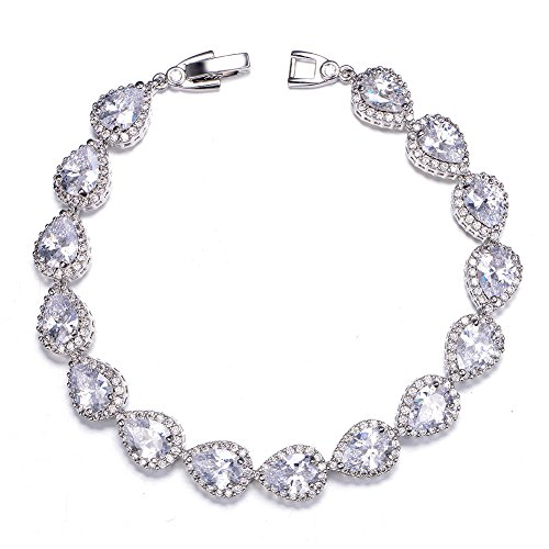 UMODE Pear-Shaped Halos Cubic Zirconia Bracelet Wedding Bridal Tennis Bracelet for Women (Bracelet Pear Tennis)