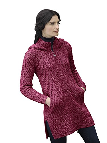 West End Knitwear Irish Wool Ladies Hooded Long Aran Zip Sweater Coat (Small, Wine)