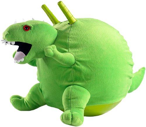 Playtastic Knallgrüner Dinosaurier-Hüpfball mit Flauschbezug, 45 cm
