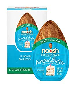 NOOSH Keto Almond Butter (Birthday Cake, 15 Count) - Perfect on the go Keto snack. All Natural, Vegan, Gluten Free, Soy Free - Ketogenic and Low Carb Friendly