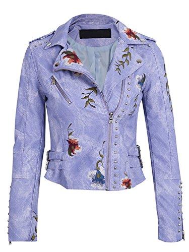 Womens Purple Leather Jacket - 8