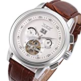 Auto Mechanical Water Resistant Genuine Leather Strap Calendar Army Wrist Watch White