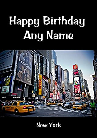 New York Personalised Birthday Card Amazoncouk Office Products
