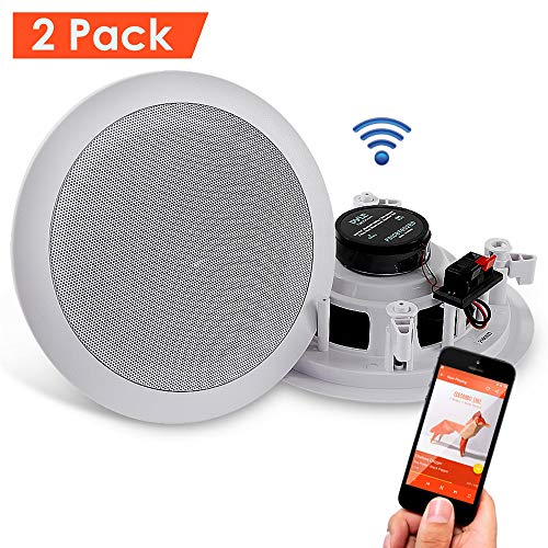 """Pyle Pair 6.5"""" Bluetooth Flush Mount In-wall In-ceiling 2-Way Universal Home Speaker System Spring Loaded Quick Connections Polypropylene Cone Polymer Tweeter Stereo Sound 200 Watts (PDICBT652RD)"""