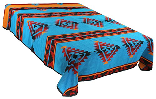 Southwestern Pottery Native American (Splendid Exchange Southwestern Bedding Trail Blazer Collection, Mix and Match, Queen/Full Size Reversible Bedspread, Dozen Diamond Blue and Red)