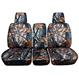 2004-2008 Ford F-150 Camo Truck Seat Covers (Front 40/20/40 Split Bench) with Center Console/Armrest, w/wo Integrated Seat Belts: Gray Real Tree Camouflage (16 Prints) 2005 2006 2007 F-Series F150