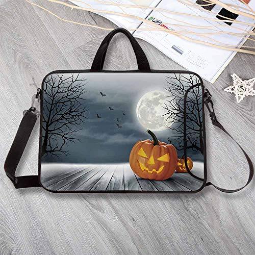 Halloween Portable Neoprene Laptop Bag,Cold Foggy Night Dramatic Full Moon Pumpkins on Wood Board Trees Print Laptop Bag for Travel Office School,17.3