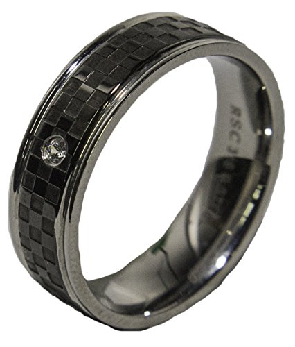 - Men's Stainless Steel Checker Band with CZ 034 (12)