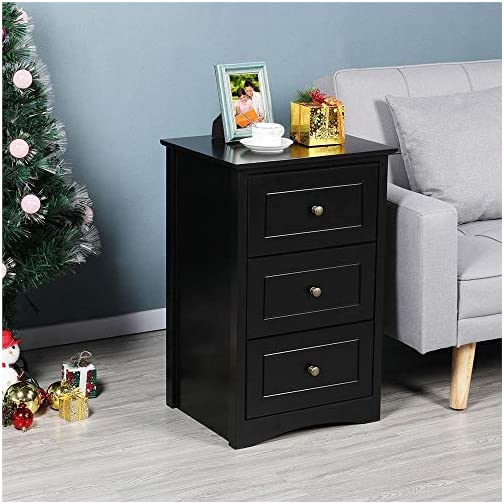 Yaheetech Tall Bedside Table Nightstand End Sofa Table with 3 Drawers – Storage Cabinet Bedroo