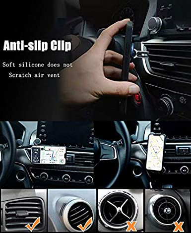 Phone Ring Holder WYTTDM 3 in 1 Universal Air Vent Car Cell Phone Mount Finger Kickstand Stand 360/°Rotation 90/°Flip Black