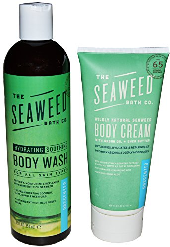 Seaweed Bath Co. Unscented Wildly Natural Soothing Body Wash and Body Cream Bundle With Aloe Vera, Neem Oil, Kukui Oil, Castor Oil and Blue Green Algae, 12 fl. oz. and 6 fl. oz.