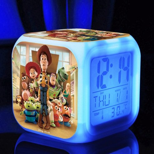 Toy Story Comedy Adventure TV Movie Action Figure Buzz Woody Digital Alarm Desktop Clock with 7 Changing LED Clock (Style - Toy Alarm Clock Story