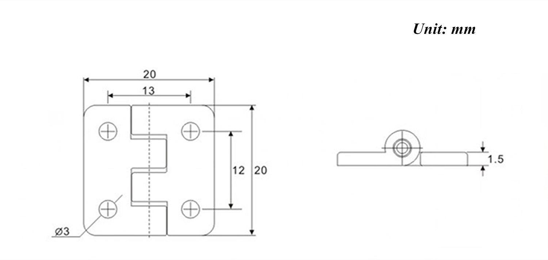 rzdeal 6 St/ück 20 x 20 x 1,5 mm Edelstahl Schrank Schublade T/ür Hintern Scharnier