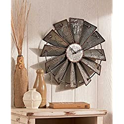 HomeCricket Country Decor Metal Windmill Rustic Country Primitive Roman Numerals Wall Clock