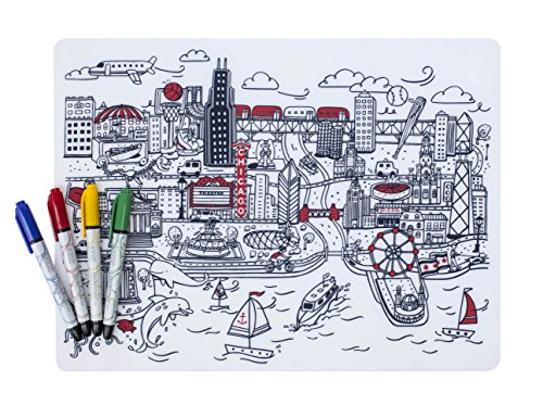 modern-twist Kids, 100% Pure Silicone Mark-Mat Coloring Placemat with 4 Dry-Erase Markers, - Water Chicago Place