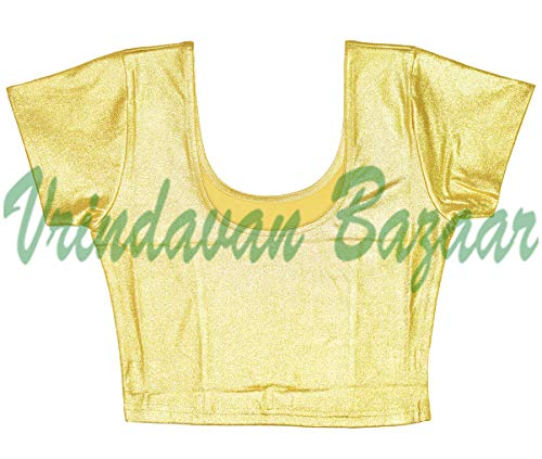 (VRINDAVANBAZAAR.COM Indian Tunic Tops Readymade Cotton Lycra Saree Blouse for Women Golden-XXXL)