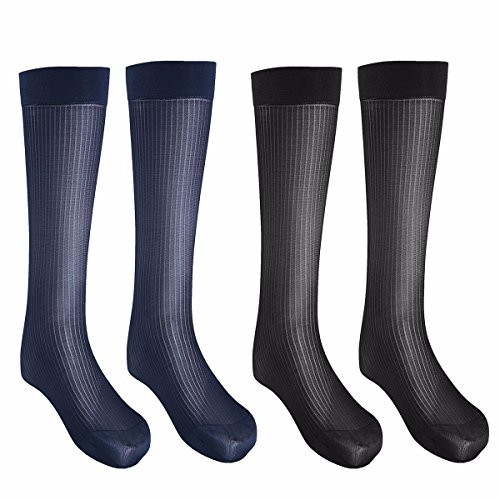 (FEESHOW 2 Pairs Men's Summer Thin Silk Socks Over-the-Calf Business Dress Crew Socks Black and Navy one size)