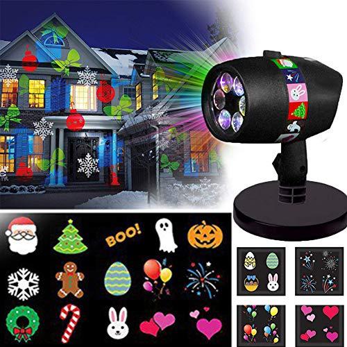 Faro proyector Fpr Halloween Navidad, 12 diapositivas de color completo LED lámpara con estaca larga impermeable foco para...
