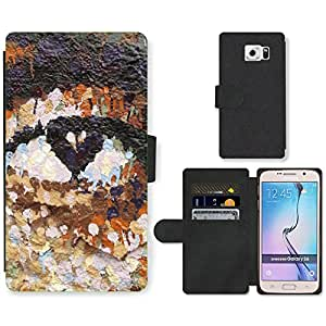 PU Cuir Flip Etui Portefeuille Coque Case Cover véritable Leather Housse Couvrir Couverture Fermeture Magnetique Silicone Support Carte Slots Protection Shell // V00002271 Pintada // Samsung Galaxy S6 (Not Fits S6 EDGE)