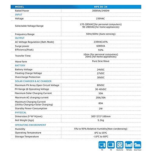 24V DC//230V AC Wandler MPPT Intelligentes Ladeger/ät Solarladeger/ät f/ür Haushaltsger/äte Blackout Emergency 3000W Hybrid-Wechselrichter Reine Sinus-Off-Grid-Solar-Wechselrichter HPS3K