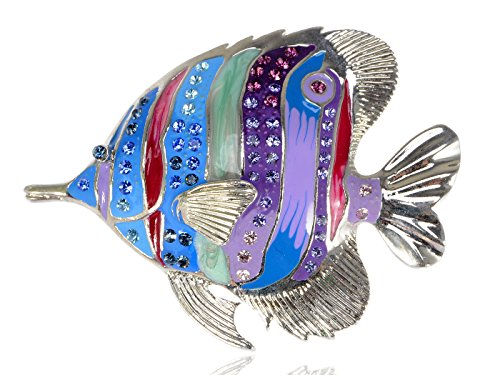 Alilang Silvery Tone Multicolored Rhinestones Tropical Colorful Rainbow Fish Brooch (Fish Brooch)