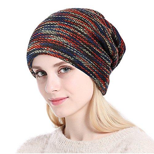 Baumor Winter Beanie Hat Warm Knit Hat Thick Knit Circle Cap For Men Women (4 Tone Mix - Black, Purple, Orange, - Orange Mix Blue And
