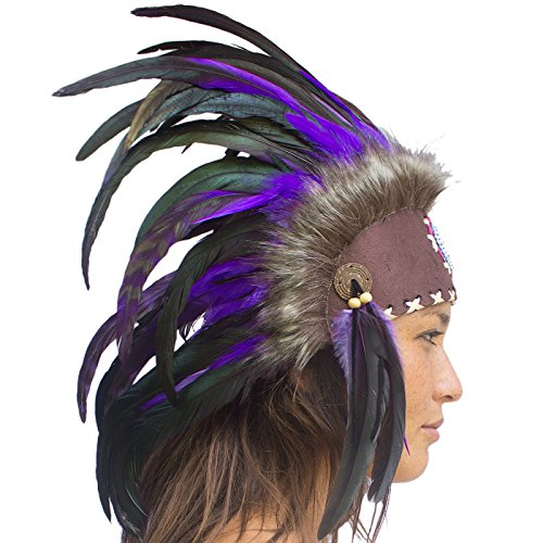 [Unique Feather Headdress- Native American Indian Inspired- Handmade by Artisan Halloween Costume for Men Women with Real Feathers - Purple with] (Punk Halloween Costume Men)