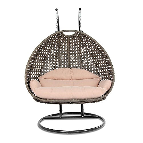Island Gale Luxury 2 Person Outdoor, Patio, Hanging Wicker Swing Chair (X-Large, Latte Rattan/Latte Cushion) (Furniture Luxury Websites)