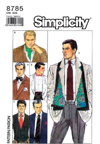 Simplicity 8785 Vintage Sewing Pattern Mens Tie Bow Tie Ascot Scarf Cummerbund