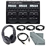 Zoom G3n Multi-Effects Processor for Electric Guitar Deluxe Bundle with 3 X 1/4 Inch Cables + Aux Cable+ Samson Stereo Headphones + Fibertique Cleaning Cloth