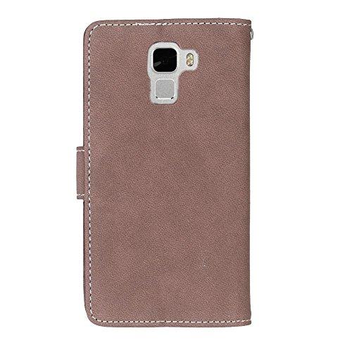 YHUISEN Caso de honor 7, de color sólido Premium PU caja de cuero de la carcasa Flip Folio cubierta de la caja de protección con ranura para tarjeta / soporte para Huawei Honor 7 ( Color : Blue ) Brown