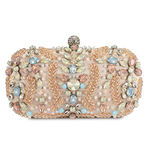 Clocolor Crystal Clutch Evening Bags and Clutches for Women Beaded Rhinestone Purse(Apricot)