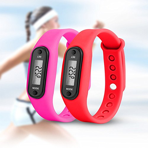 YIHUA Digital LCD Pedometer Run Step Walking Distance Calorie Counter Watch Bracelet Fitness Tool