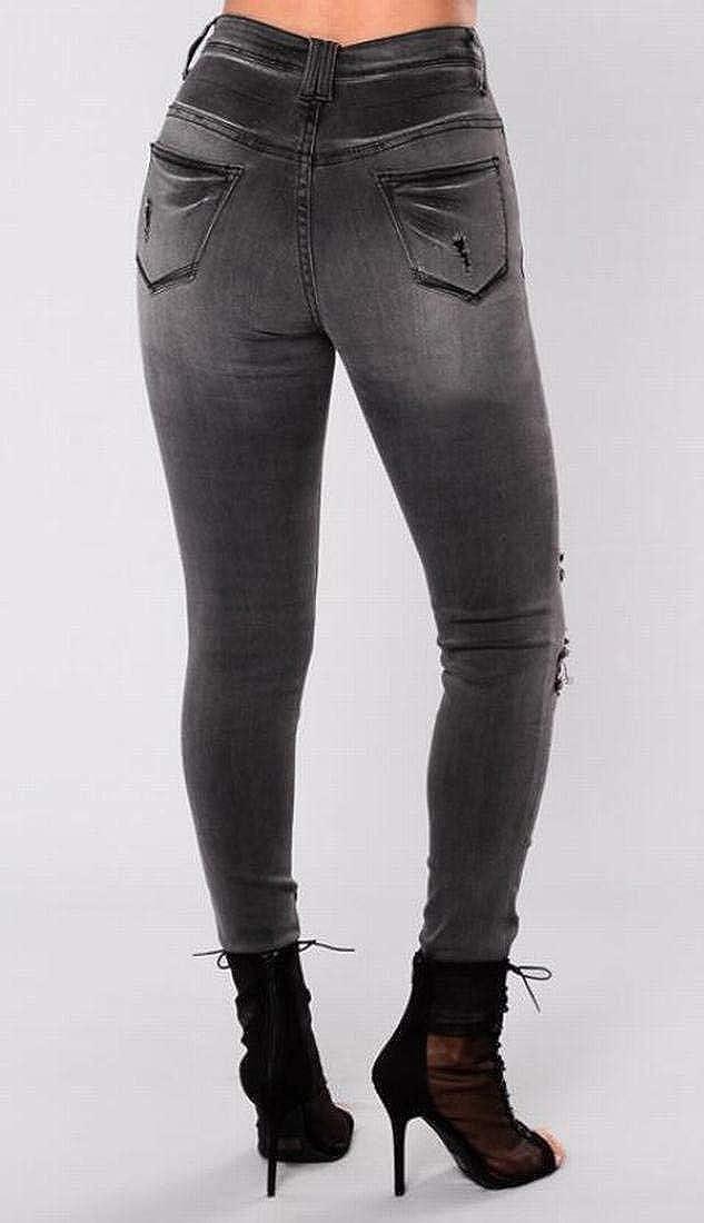 Amazon.com: Pantalones vaqueros sexy de cintura alta con ...
