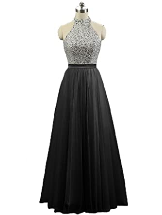ae967a621f47 HEIMO Women's Sequins Keyhole Back Evening Party Gowns Beading Formal Prom  Dresses Long H181 2 Black