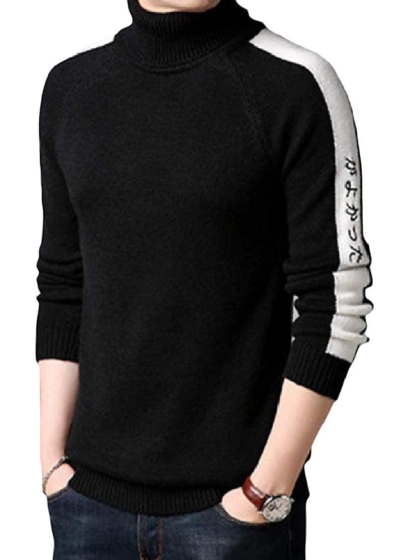 DressU Mens Knit Long Sleeve Patchwork Fitted Stylish Mock Neck Sweater