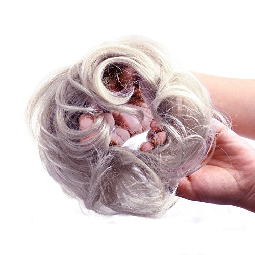 - Bella Hair 100% Human Scrunchie Bun Up Do Hair Pieces Wavy Curly or Messy Ponytail Extension (#Silver Gray)